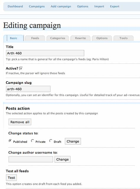 Basic Options for Campaign