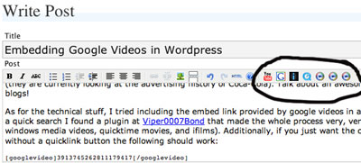 Posting Google Videos