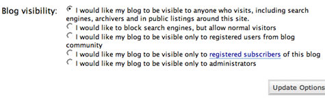 Blog visibility