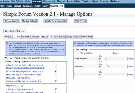 Image of Simple Forums backend