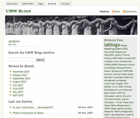 Image of UMW Blogs Archive Page