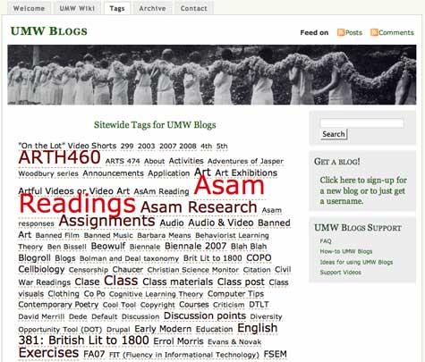 Image of UMW Blogs tag cloud