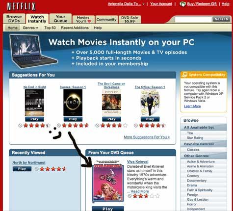 Screenshot of Netflix Watch Instantly