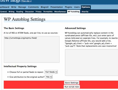 Image of WP-Autoblog plugn settings