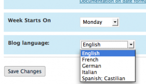 Blog language Options