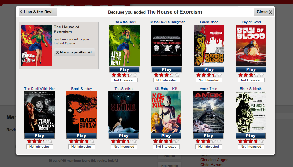 Mario bava films on Netflic