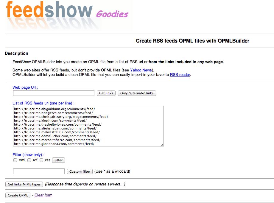 FeedShw Goodies OPML Builder