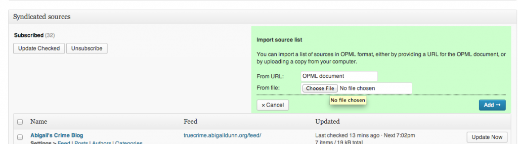 FeedWordPress Import OPML File