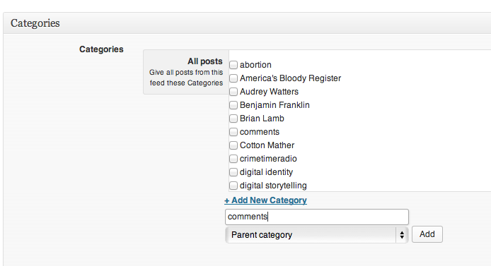 Comments category in FWP