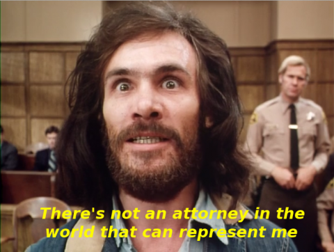 Scene from Helter Skelter wherein Manson decides to represent himself.