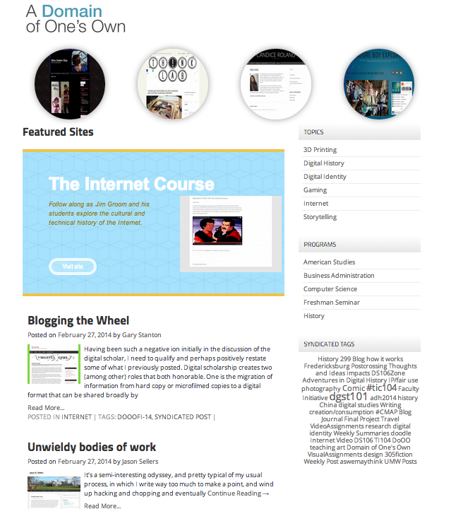 UMW Domain Community Frontpage