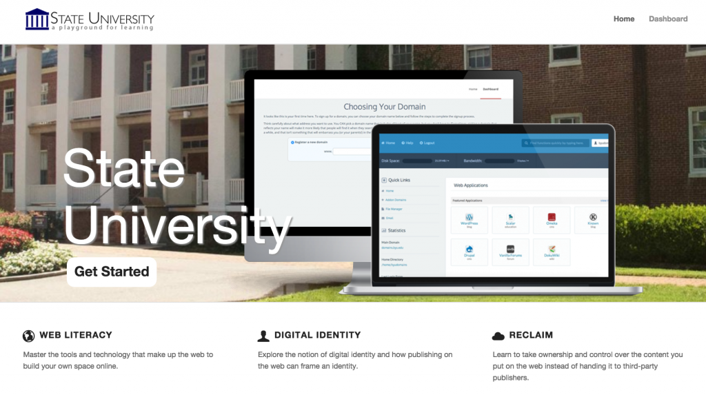 Reclaim Hosting's examples institution site: State U