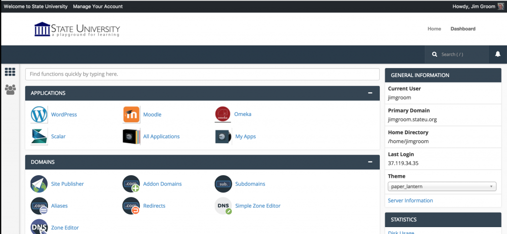 CPanel is embedded within a page in WordPress using functions and API calls to WHM and WHMCS