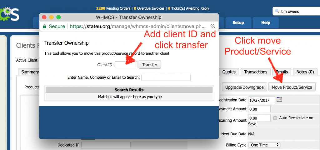 Transfer a web hosting account between users in WHMCS