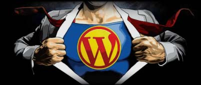 Image of a Superman bearing WordPress symbol on chest