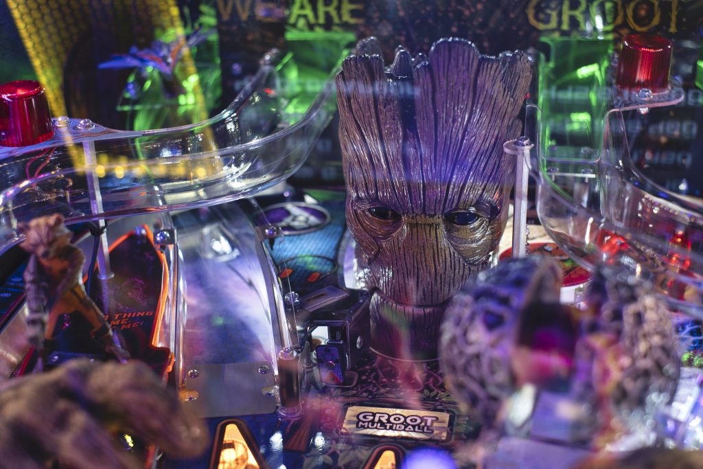 Detail of Groot from Guardians of the Galaxy pinball