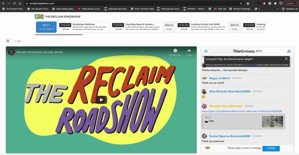 Image of Reclaim Roadshow Video Player and Schedule with embedded Discord chat