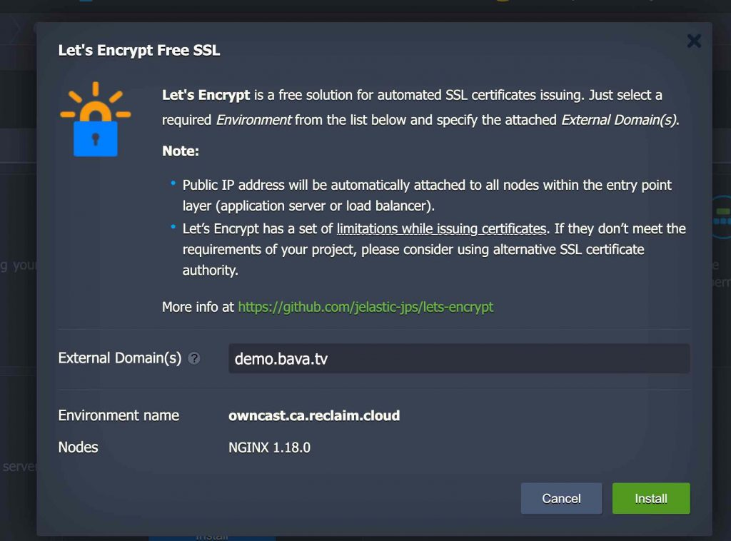 Image of Let's Encrypt screen