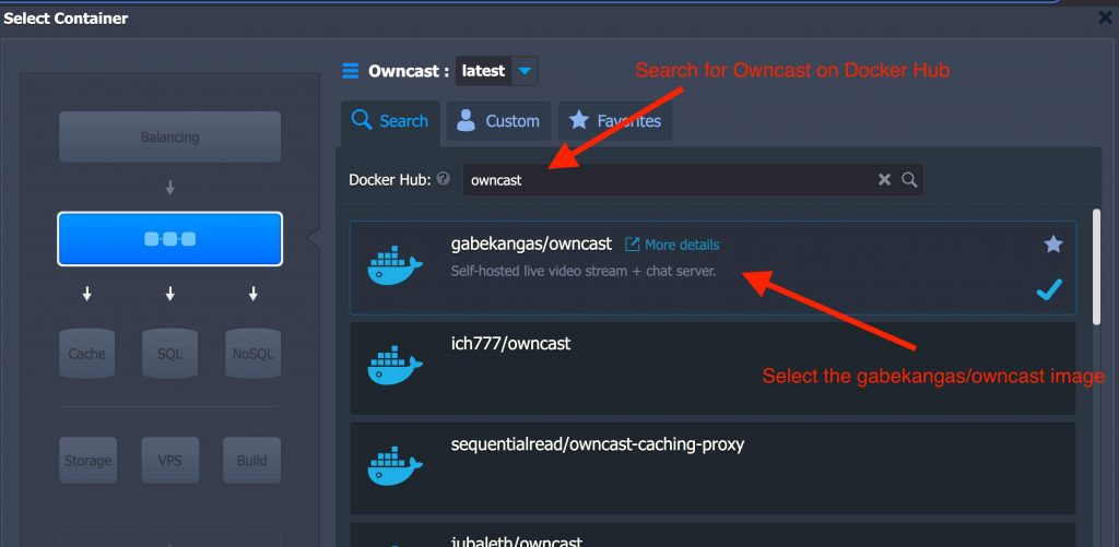 Image of screen where you would select the gabekangas/owncast Docker image