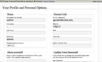 User Settings Page, top-half